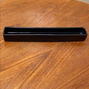 Black ceramic rectangular dish